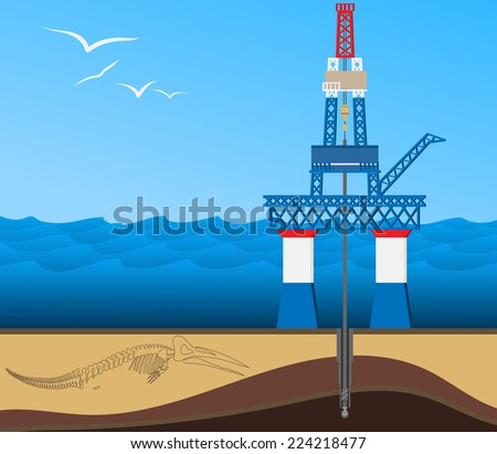 Typical oil mining platform with drilling tower located in the open sea. Set on the Earth's crust section showing oil field. EPS8 Vector illustration. - stock vector