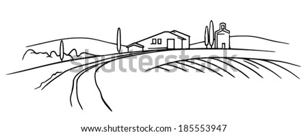 Typical Tuscany landscape vector sketch, field and farm - stock vector