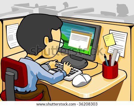 Typing on Computer - stock vector