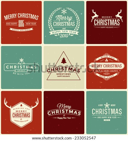 Typographic Christmas Design Set - Vintage Style Trendy Holiday Collection - stock vector