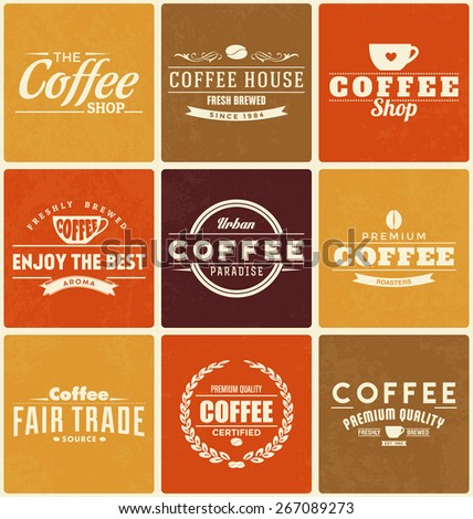 Typographic Coffee Themed label Design Set - A collection of nine brightly colored vintage style coffee designs on colorful backgrounds - stock vector
