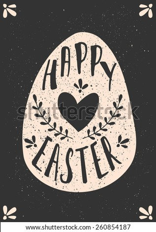 Typographic Easter greeting card template in chalkboard style. - stock vector