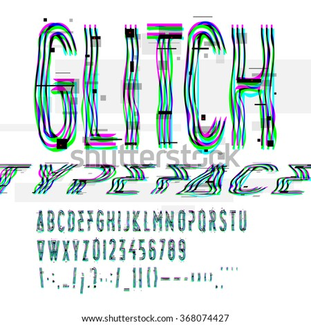 Typographic glitch font with digital image data distortion, digital decay, vector illustration. - stock vector