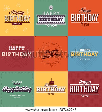 Typographic Happy Birthday Themed Set - Vintage Style Greeting Design Collection - stock vector