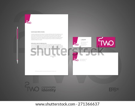 Typographic logo & identity. Elegant minimal style corporate identity template with logo. Letter envelope and business card design. Vector illustration. - stock vector