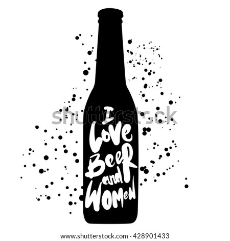 Typographic phrase beer poster on blurred background. Vector illustration. - stock vector