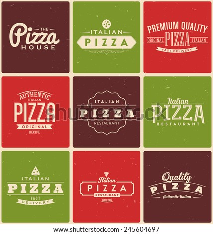 Typographic Pizza Label Design Set - stock vector