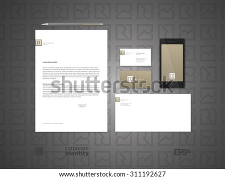 Typographic R logo. Elegant minimal style corporate identity template. Letter envelope and business card design. Vector illustration. - stock vector