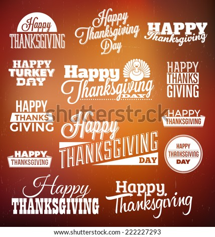 Typographic Thanksgiving Design Set - stock vector