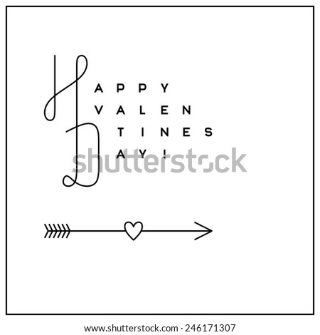 Typographic Valentine's Day greeting card in clean minimalistic style - stock vector
