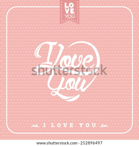 Typographical background for your love. Ilove you. Heart shaped. - stock vector