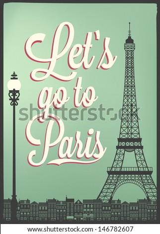 Typographical Retro Style Poster With Paris Symbols And Landmarks - stock vector