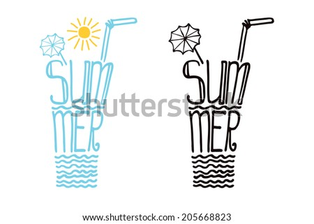 """Typography  Design set.Silhouette of  glass of drink from words .The message """"Summer"""".To use as  label, sticker,background .Fun illustration in vector. - stock vector"""