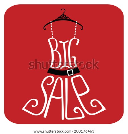 """Typography dress Design.Silhouette of sundress from words with percent sign and number on black background .The message """"Big sale"""" and """"Hello Summer"""".Fashion illustration in vector. - stock vector"""