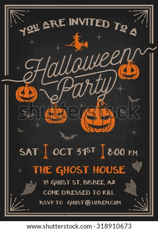 Typography Halloween Party Invitation card with scary pumpkins design. Grunge texture easy to remove. Vector illustration - stock vector