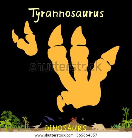 Tyrannosaurus dinosaur fossil footprint. Dino paws. Dinosaur footprint image. Dinosaur footprint picture. Dinosaur footprint EPS. Dinosaur footprint JPEG. Dinosaur footprint Vector Illustration.  - stock vector