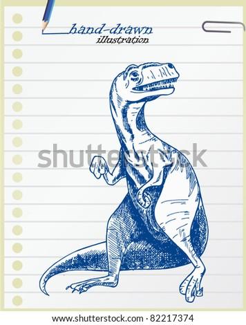 Tyrannosaurus hand-drawn illustration - stock vector