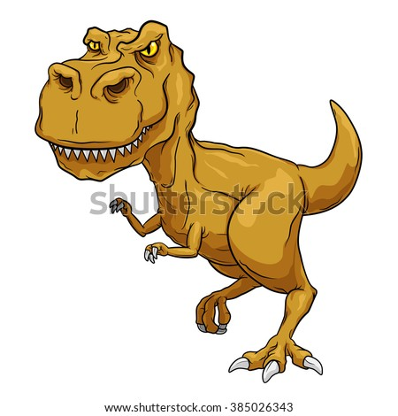 Tyrannosaurus Rex, T-Rex, Primitive carnivore dinosaur with separate color and outline layers. - stock vector