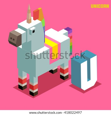U for Unicorn, Animal Alphabet collection. vector illustration - stock vector
