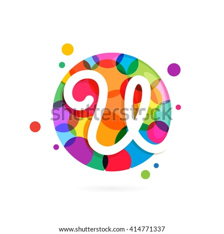 U letter logo in circle with rainbow dots. Font style, vector design template elements for your application or corporate identity. - stock vector