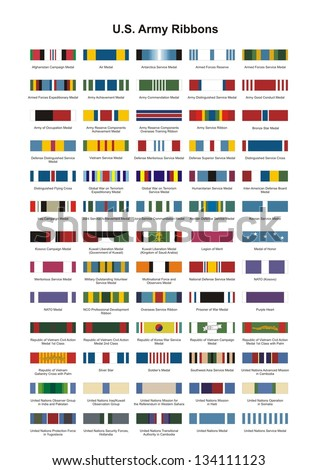 U.S. Army Award Medal Ribbons. Complete vector set. - stock vector