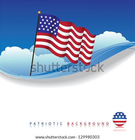 U.S. Flag Background. EPS 8 vector, grouped for easy editing. No open shapes or paths. - stock vector