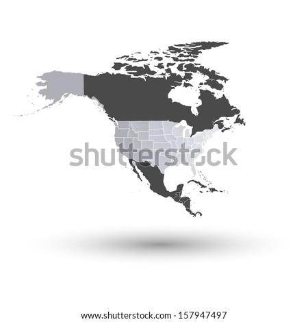 U.S. states map against the background of north america vector - stock vector