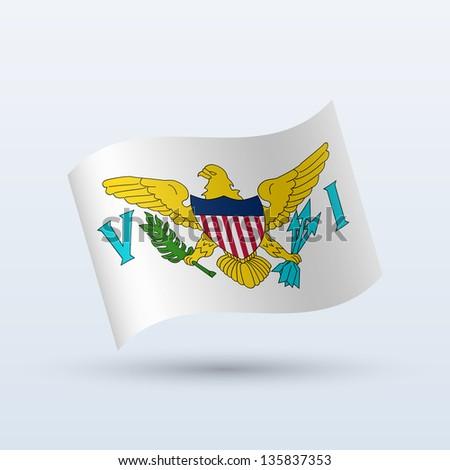 U.S. Virgin Islands flag waving form on gray background. Vector illustration. - stock vector