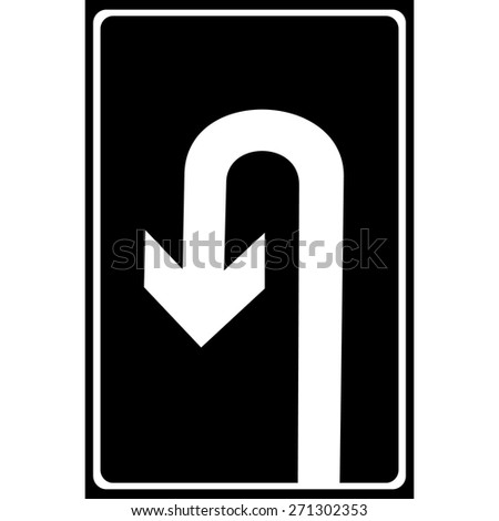 U-Turn Roadsign - road sign with turn symbol isolated, Vector illustration - stock vector