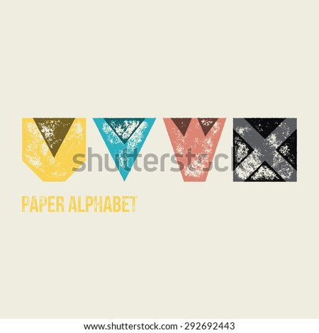 U V W X - Grunge Retro Paper Type Alphabet - Capital caption letters from folded transparent paper - Typography and infographic resource - stock vector