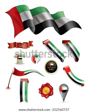 UAE Flag, Made in Emirates Seal Collection, Ribbon (Vector Art) - stock vector