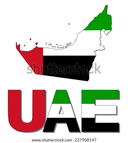 Uae Flag And Emblem Uae Map Flag And Text Vector