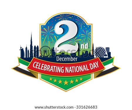 "UAE 2nd December Logo with Skyline & Firework, An inscription in English ""Celebrating National Day"" - stock vector"
