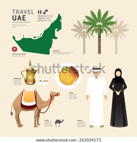 UAE United Arab Emirates Flat Icons Design Travel Concept.Vector - stock vector