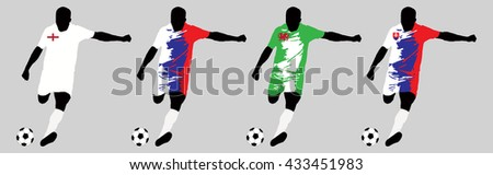 UEFA Euro 2016 vector illustration of football player run hit ball. Group B participants. Vector set of football players in european countries flags uniform original colors.Flat style design. Clip art - stock vector
