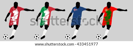 UEFA Euro 2016 vector illustration of football player run hit ball. Group F participants. Vector set of football players in european countries flags uniform original colors.Flat style design. Clip art - stock vector