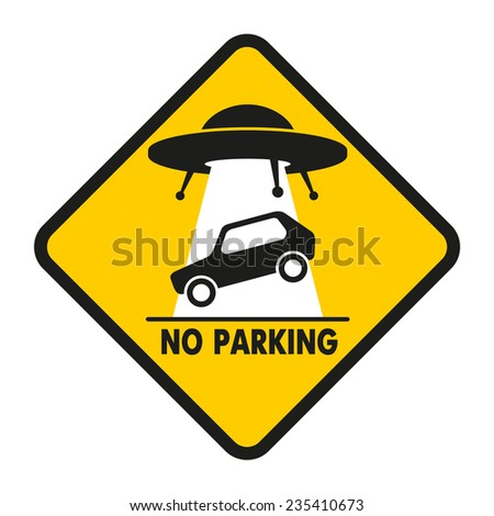 UFO abducts improperly parked car - stock vector