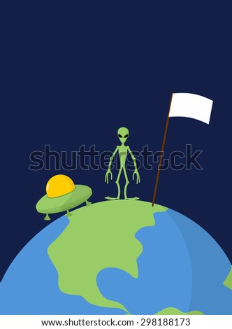 UFO and alien with white flag stands on Earth. Vector background  - stock vector