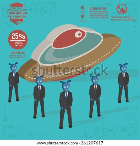 UFO design,and character concept,clean vector - stock vector