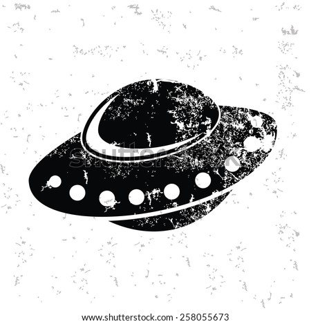 UFO design on old paper,grunge vector - stock vector