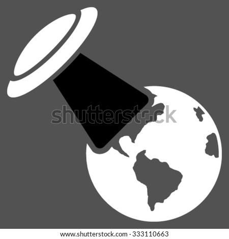 Ufo Explores Earth vector icon. Style is bicolor flat symbol, black and white colors, rounded angles, gray background. - stock vector
