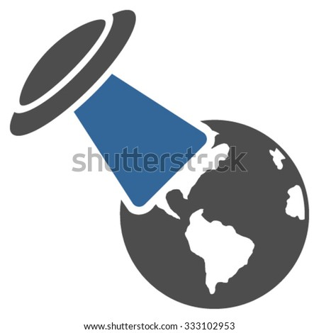 Ufo Explores Earth vector icon. Style is bicolor flat symbol, cobalt and gray colors, rounded angles, white background. - stock vector