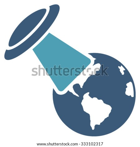 Ufo Explores Earth vector icon. Style is bicolor flat symbol, cyan and blue colors, rounded angles, white background. - stock vector