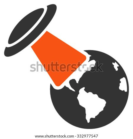 Ufo Explores Earth vector icon. Style is bicolor flat symbol, orange and gray colors, rounded angles, white background. - stock vector