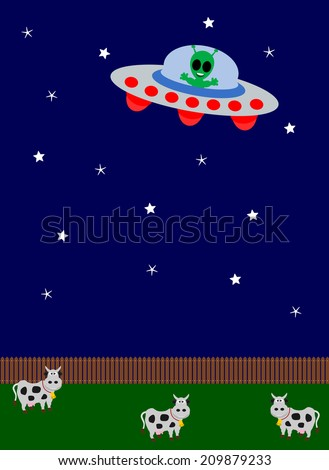 UFO flying over a field - stock vector