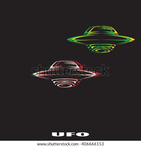 UFO Flying Saucer Icon. UFO Flying Saucer Vector. UFO Flying Saucer Icon Isolated On Black Background. - stock vector