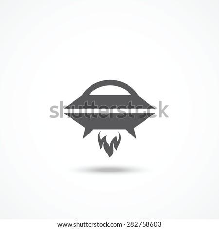 UFO icon - stock vector