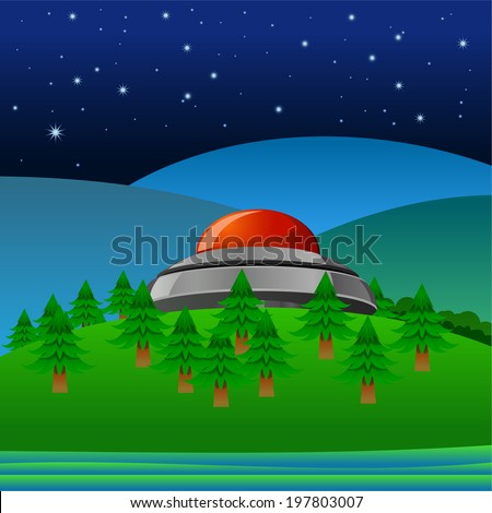 UFO landed or crashed on a mountain - stock vector