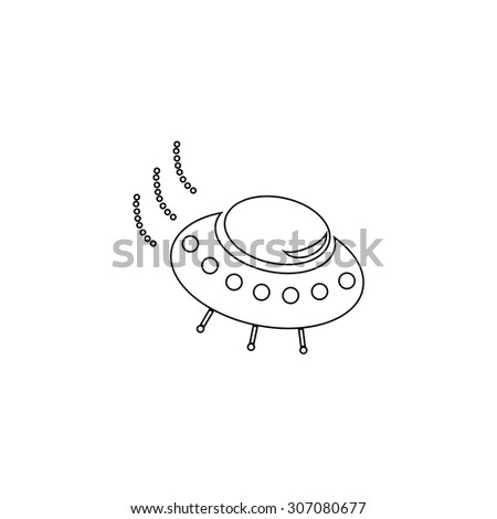 UFO. Outline black simple vector pictogram - stock vector