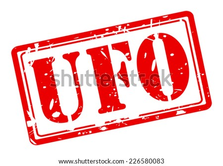 UFO red stamp text on white - stock vector